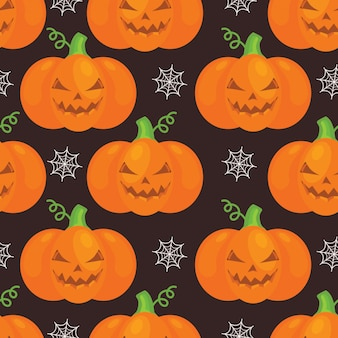 Halloween pattern with pumkins, web on black background