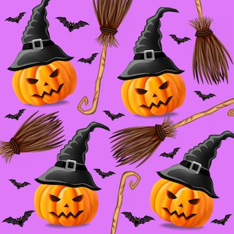 Halloween pattern with pumpkins witches and broomsticks