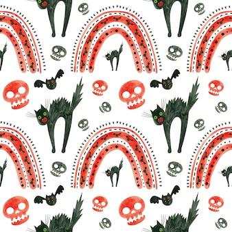 Узор на хэллоуин с красными черепами летучих мышей, испуганный черной кошкой и радугой жуткая цифровая бумага