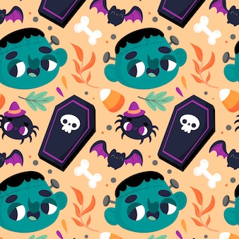 Halloween pattern with scary elements