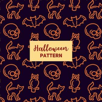 Halloween pattern with skull, owl, bat and bone.