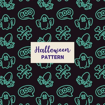 Halloween pattern with spider, a ghost and a bone.