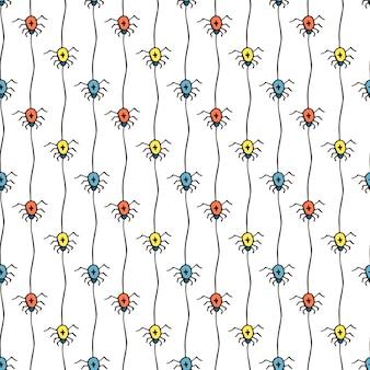 Хэллоуин с пауками. яркий бесшовный фон. текстильная или оберточная бумага.