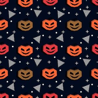Halloween pattern with trendy pumpkin