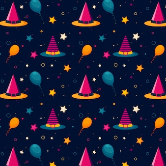 Halloween pattern with witch hats, balloons and stars