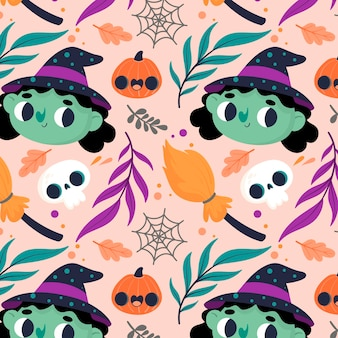 Halloween pattern with witches