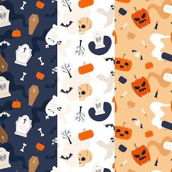 Halloween patterns in flat design