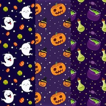 Halloween patterns hand drawn design