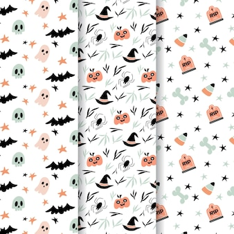 Halloween patterns hand drawn style