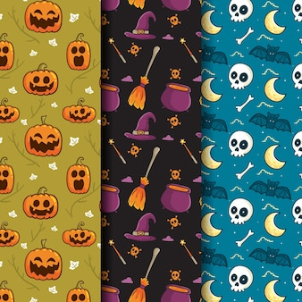 Halloween patterns hand drawn style