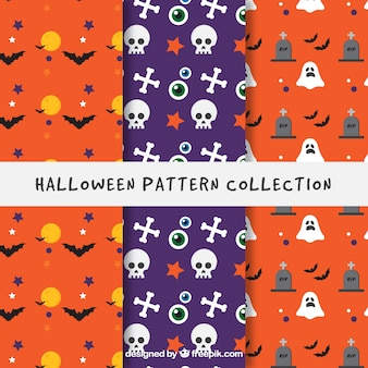Halloween patterns with bats and other elements