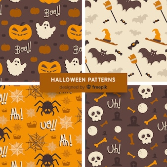 Halloween patterns with drawings