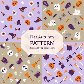 Halloween patterns with elements in flat design