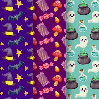 Halloween patterns with ghosts and candy