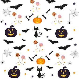 休日のシンボルとハロウィーンのパターン。ベクトルの背景は、壁紙、塗りつぶし、webページ、表面、スクラップブック、ホリデーカード、招待状、パーティーのデザインに使用できます。