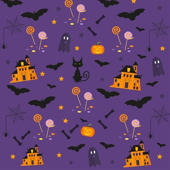 Halloween patterns with holiday symbols. vector background can be used for wallpaper, fills, web page,surface, scrapbook,  holiday card, invitation and party design.