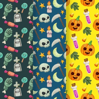 Halloween patterns with skulls and pumpkins