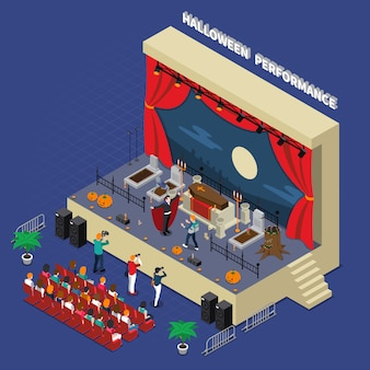 Halloween performance isometric illustration