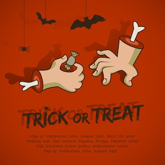 Halloween phrase trick or treat with animals hands and candy on red background cartoon style