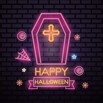 Хэллоуин розовый неоновый знак