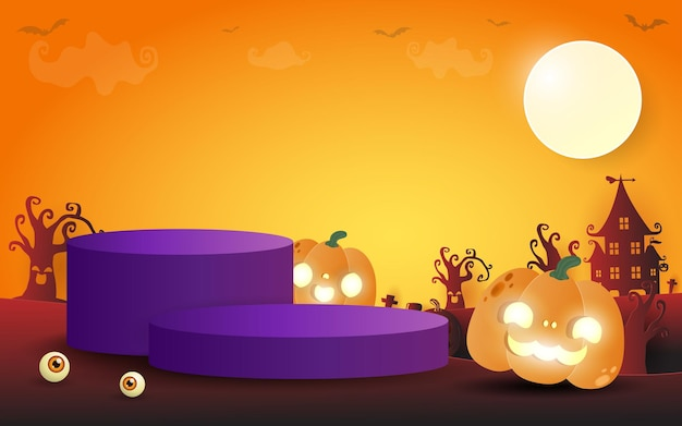 Halloween podium for product display concept stand show and showcase with pumpkin patch