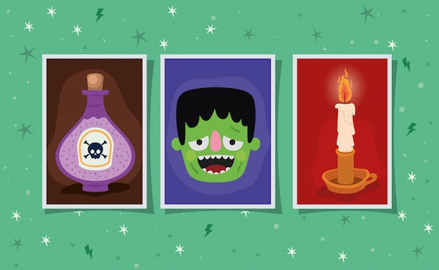 Halloween poison candle and frankenstein cartoon in frames design, holiday and scary theme