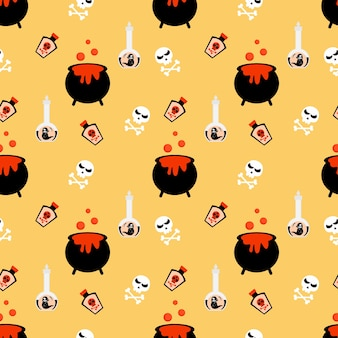 Halloween poison and skull seamless pattern.