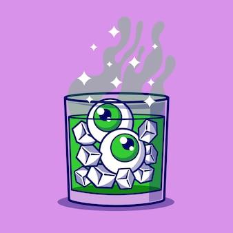 Halloween poisoned glass with eyeball cartoon illustration