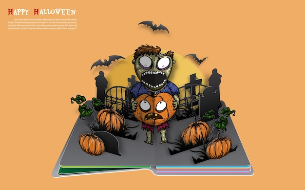 Halloween pop up book from vector.