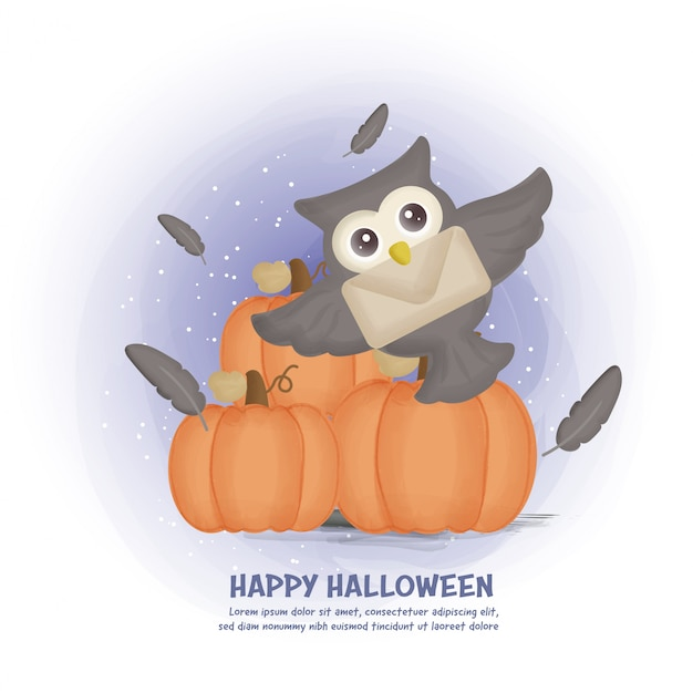 Halloween post card with cute owl and pumpkins.