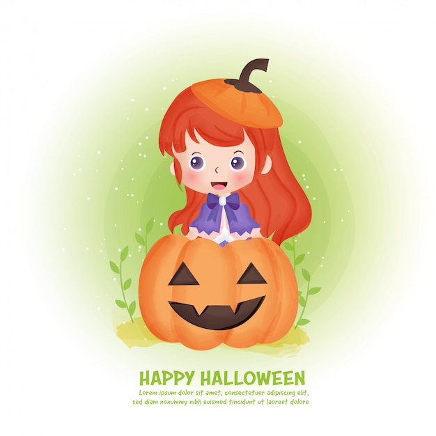Halloween post card with cute witch and pumpkin in water color style.