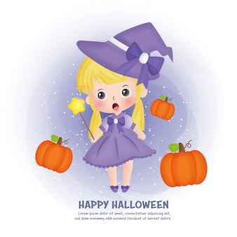 Halloween post card with cute witch and pumpkins.