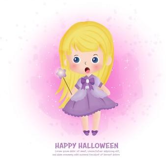 Открытка на хэллоуин с милой ведьмой.