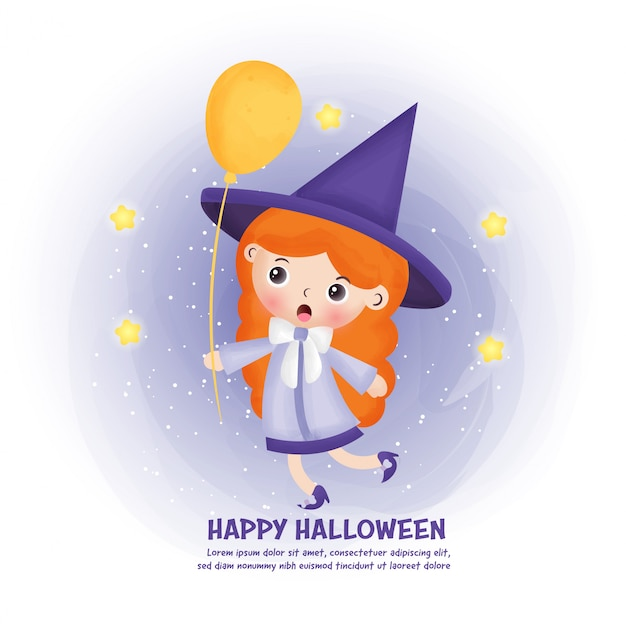 Halloween post card with cute witch .