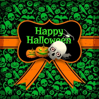 Halloween postcard template with pumpkin label and seamless pattern with green holiday symbols on dark background