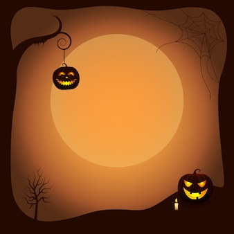 Halloween poster background with luminous pumpkins