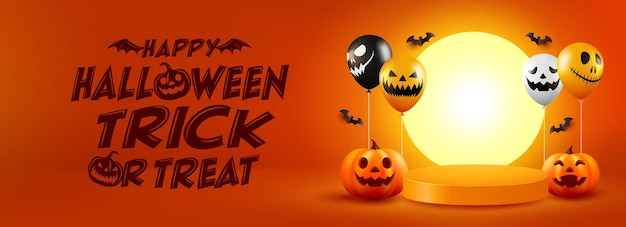 Halloween poster or banner with halloween pumpkin and ghost balloons