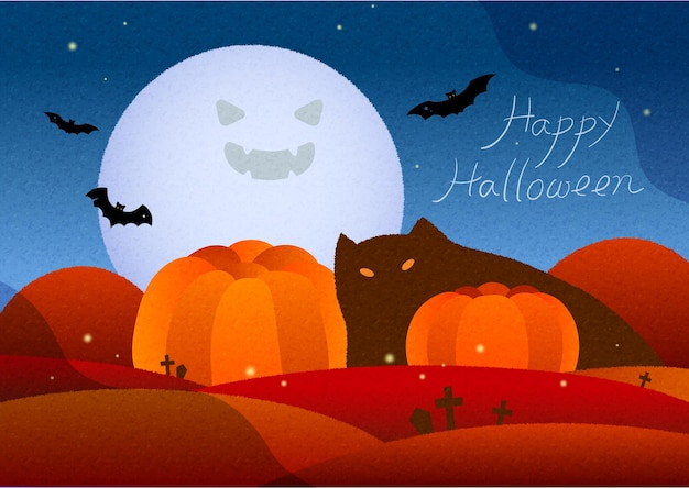 Halloween poster or card with pumpkins black cat bat and moon