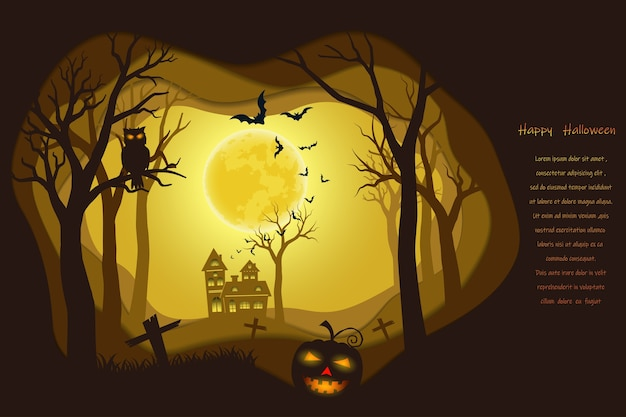 Halloween poster on dark paper art background