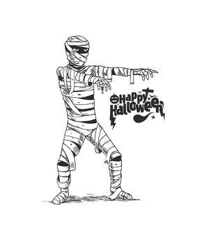 미라 좀비 의상, 손으로 그린 스케치 벡터 배경 할로윈 포스터 디자인.