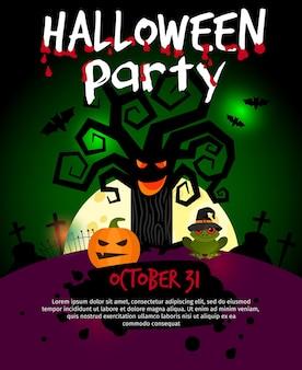 Иллюстрация плаката хэллоуина с страшным старым деревом.