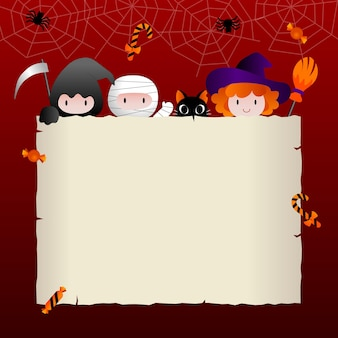 Halloween poster or party invitation with square frame and flat  icons