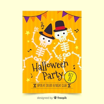Halloween poster skeletons dancing