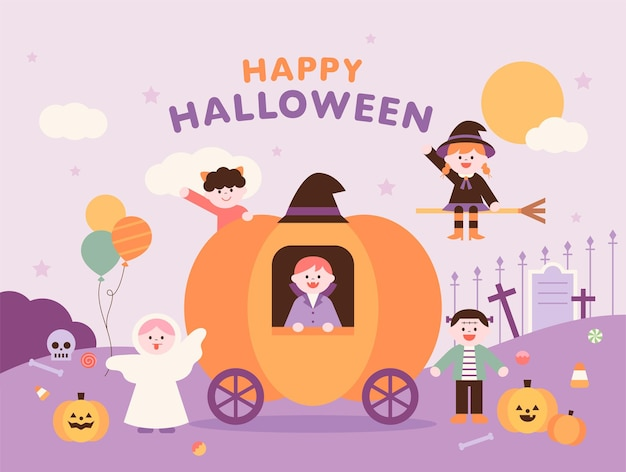 Halloween poster template cute halloween characters are saying hello around the pumpkin carriage