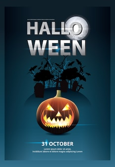 Хэллоуин плакат шаблон дизайна иллюстрации