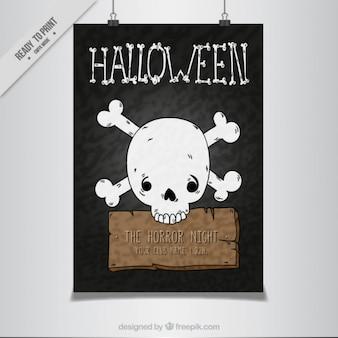 手描きの頭蓋骨のハロウィーンのポスターテンプレート