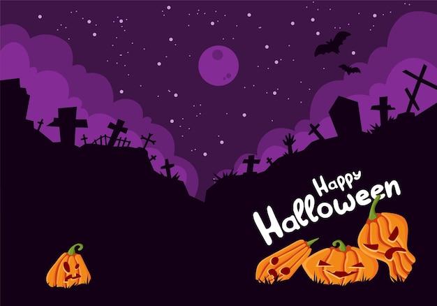 Шаблон плаката на хэллоуин страшный флаер приглашения на вечеринку с символами ужасов тыква на темном кладбище