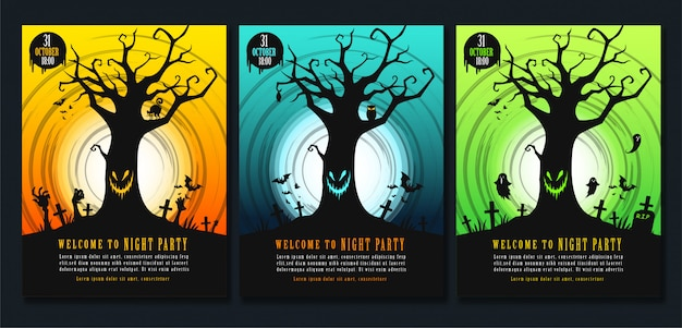 Halloween poster template set