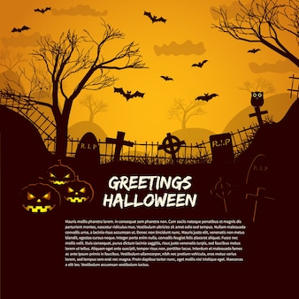 Halloween poster template with cemetery gravestones at glow in night sky and greetings text flat