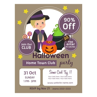 Halloween poster template with kids pumpkin and treat